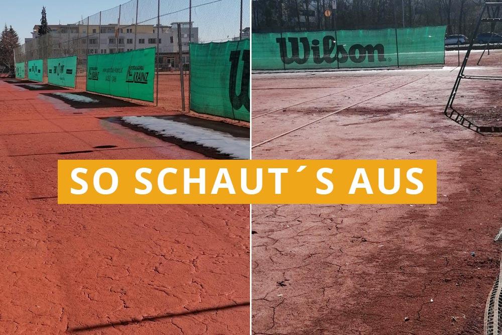 Tennis Platz Frühjahr Vorbereitung
